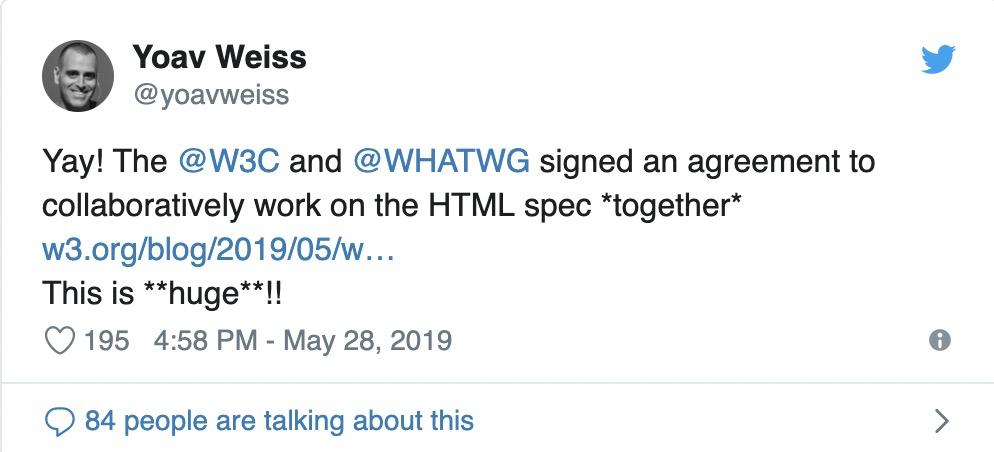 WHATWG击败W3C,赢得HTML和DOM的控制权