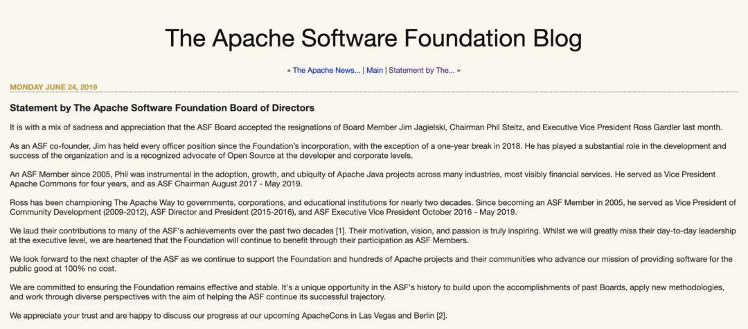 Apache 基金会创始人、主席与执行副总裁三人同时离职