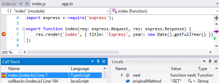 Visual Studio Node.js工具1.1