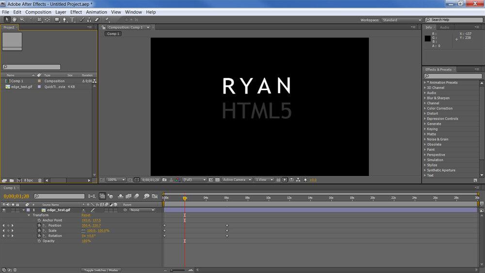 Adobe HTML5动画新工具Edge试用手记
