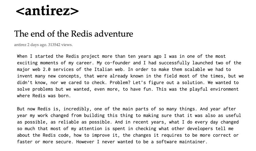 Redis之父退出开源项目维护:人生苦短不想上班