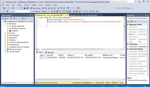 使用 SQLServer 备份文件.bak 还原至 RDS